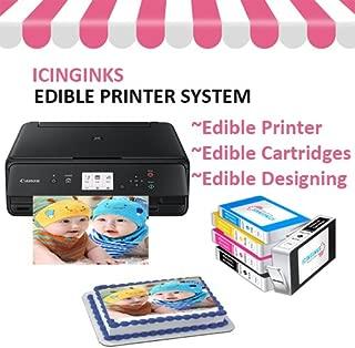 Icinginks Cake Printer Bundle System - Includes Wireless Photo Printer, Set of 5 Ink Cartridges, and Free Image Designing Lifetime