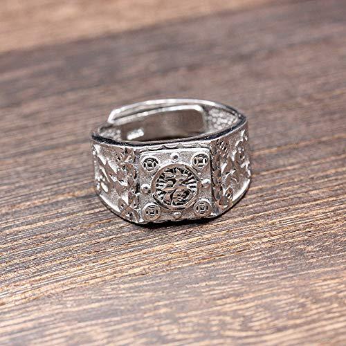 Keai 925 sterling zilver met de hand gesneden Letter Ring Opening verstelbare heren brede print ring