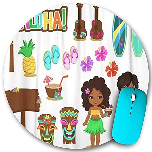 Rundes Mauspad, Hula Luau Hawaiianische Sammlungsparty Tiki Aloha Mädchen Kinder Kokosnuss Flip Flops Surfbrett, rutschfeste Gummibasis Office Home Mauspads Klein 7,9x7,9 in Gaming Mousemate