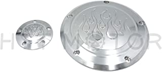 HTTMT MT429-004E- Flame Derby Timer Cover Flame Compatible with Harley Dyna Sportster Street Bob XL 883 1200 Chrome