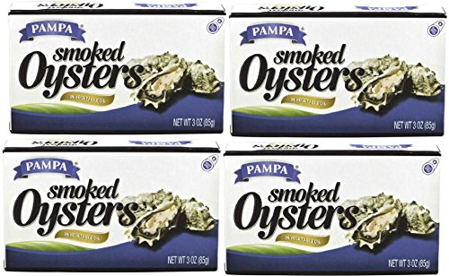 Pampa Smoked Oysters in Vegetable Oil (4 Pack) 3 oz Cans
