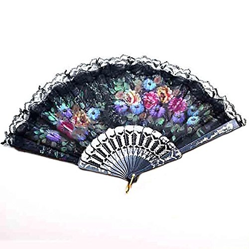 Plastic Spanish Lace Silk Folding Hand Held Dance Fan Flower Party Wedding