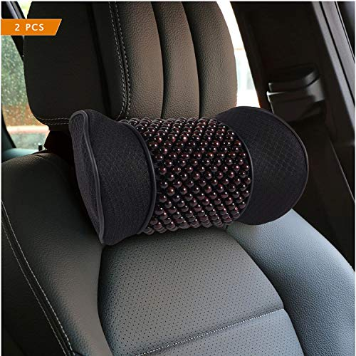 Big Hippo 2PCS Car Neck Pillow, Memory Foam Car Seat Neck Pillow with Wooden Beads,Ergonomic Design Neck Pillow for Car,Car Headrest Pillow for Neck Pain Relief&Cervical Support with Adjustable Strap