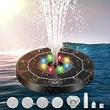 Fontana a energia solare, pompa dell'acqua con pannelli solari da 3,5 W, dotata di batteria 3000 mAh, luci LED colorate, fontana solare 6 stili fontana, adatta per giardini, bagni uccelli, ecc