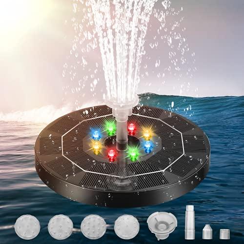 Fontana Solare, Pompa ad Acqua Solare da LED 3.5W Fontana da Giardino, 180mm Pannello Solare con Batteria 3000 mAh, con 6 Ugelli, per Bagno per Uccelli,Acquario,Stagno o Decorazione del Giardino