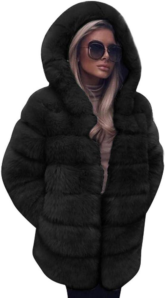Women Winter Faux Fur Coat Hooded Autumn Warm Jackets Overcoat Cardigan