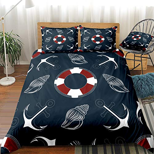 QXbecky Ocean Turtle Ship Spear Shell Beach Bedding Soft Microfiber Quilt Cover Pillow Case 3 Piece Set Double Single