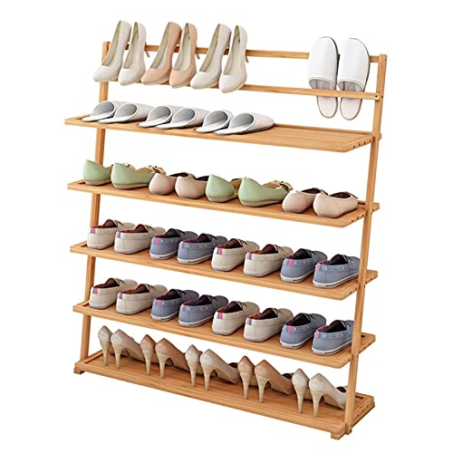 LYLY Zapatero de 5 niveles de bambú natural independiente estante de zapatos organizador de almacenamiento para entrada, pasillo y armario zapatero