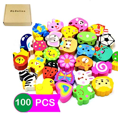 DLOnline 100PCS Cute Animal Pencil Erasers, Pencil Eraser Toppers, Eraser Pencil Caps, Adorable Flower Eraser for Kids