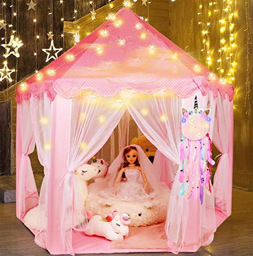 Tacobear Kinderspielzelt Mädchen Prinzessin Castle Spielzelt Faltbare Prinzessin Kinderzelt Kinderzimmer Spielhaus für dinnen und draußen mit Einhorn Traumfänger Lichterkette für Kinder Mädchen