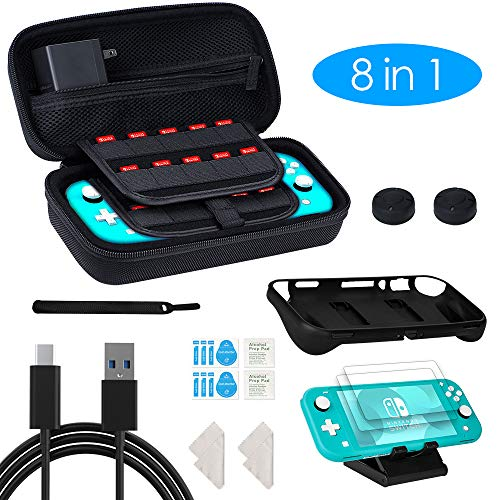 8-in-1-carrying-case-compatible-with-nintendo-switch-lite-travel-accessory-bundle-with-1-carrying-case-2-tempered-glass1-protective-case2-thumb-grips1-charging-cable-and-more-for-switch-lite