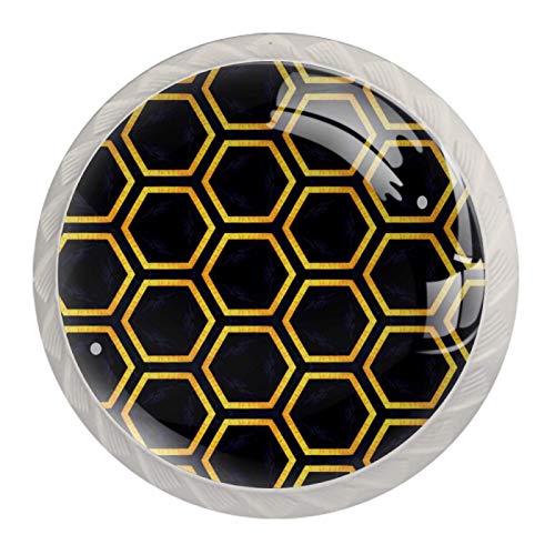Paquete de 4 herrajes para gabinetes blancos Hexágono dorado negro Perilla redonda con tornillos de montaje, tiradores de un solo orificio 3.5x2.8cm