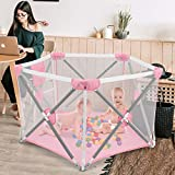 Playpen for Baby, Johgee Kids 5-Panel Foldable Portable Baby Playpen, Indoors or Outdoors Child Playpen Fence, Safety Games Crawling Playpen for Babies (Pink)