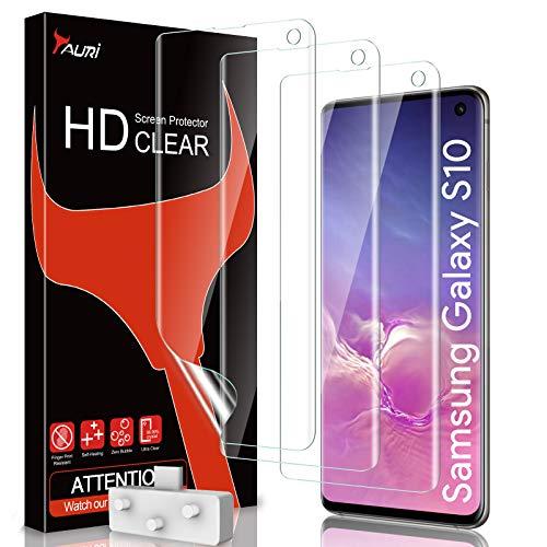 TAURI 3 Stück Schutzfolie Kompatibel Mit Samsung Galaxy S10 Displayschutzfolie Fingerabdruck-ID unterstützen Blasenfreie Klar HD Weich TPU Folie