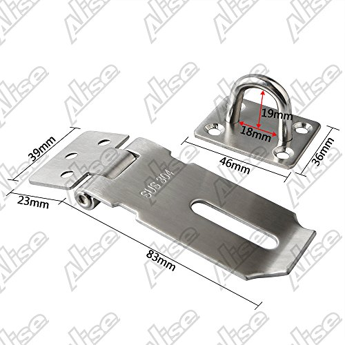 Product Image 2: Alise MS9-3A Padlock Hasp Door Clasp Hasp Lock Latch SUS 304 Stainless Steel Brushed Nickel