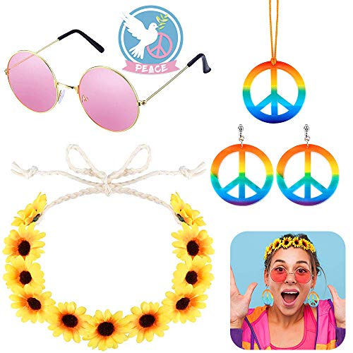 XCOZU Hippie Accessoires Kit, Hippie Brille Retro Runde Rosa Sonnenbrille, Regenbogen Peace Kette, Hippie Ohrringe and Hippie Blumenhaarband, 70er Jahre Accessoires für Damen Herren Thema Party