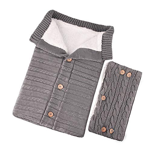 NATTHSWE Kinderwagen Schlafsack Winter,Süße Samt Warme Tasche, Stricken Abnehmbare Schlafsack,für Babys Neugeboren von 0 bis 12 Monaten,mit Kinderwagen-Handlaufabdeckung