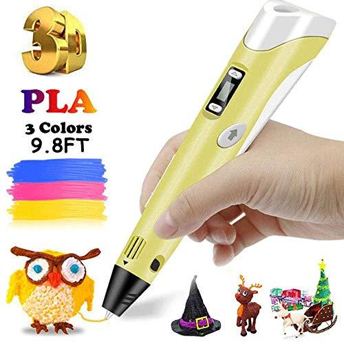 Ceepko Pluma 3D para los niños, Pluma 3D con ABS/PLA filamento Pack de 4 Diversos Colores, impresión 3D Pluma con Pantalla LCD es Perfecto Regalo del cumpleaños y de Navidad para los niños