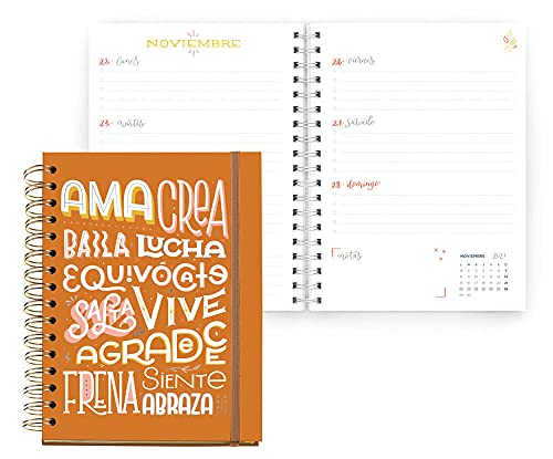 Miquelrius - Agenda Escolar 2021-2022, Tamaño Plus 15 x 21.3 cm, Semana Vista, Happy Letters Palabras,...
