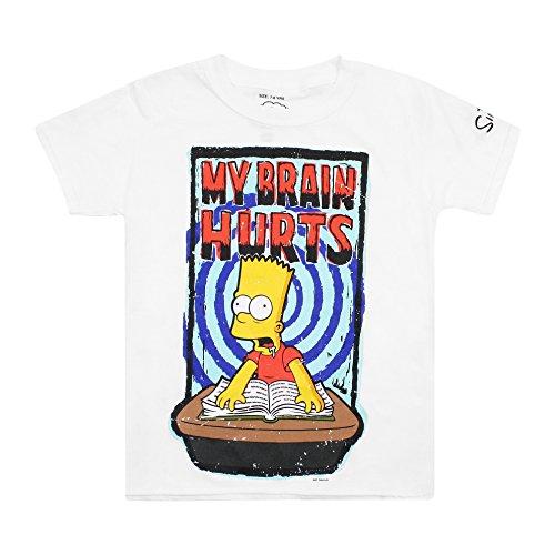 The Simpsons My Brain Hurts T-Shirt, Bianco, 7-8 Anni Bambino