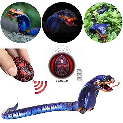 Upgrade 17' Rechargeable Remote Control Snake Toys for Kids, Gift Prank, Blue