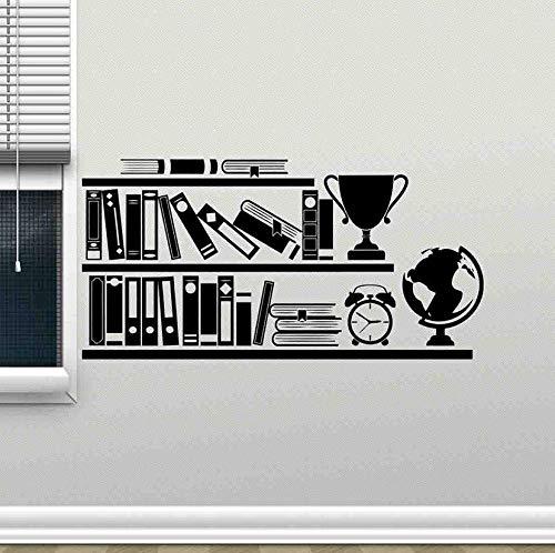 Wandaufkleber Bücherregal Wandtattoo Lesesaal Bibliothek Schule Klassenzimmer Innendekor Globus Bücher Bildung Vinyl Fenster Aufkleber Wandbild 42X83Cm