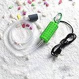 Adeeing Mini USB portátil acuario pecera tanque de oxígeno bomba de aire silenciar ahorro de energía suministros accesorios, verde