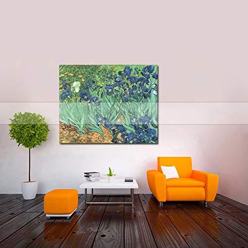 CHASOE Van Gogh Iris Gemälde-Reproduktionen Blume Handgemachtes Ölgemälde Wandbilder Für Wohnzimmer Home Decoraction Kunst Ungerahmt 90X120 cm