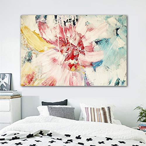 adgkitb canvas Kunst Abstrakte Bunte Blume Bilder Leinwand Wandkunst Für Wohnzimmer Moderne Dekoration Poster 58x90 cm KEIN Rahmen