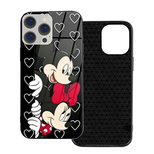 Funda para iPhone 12 Mickey Mouse y Minnie in Love a prueba de golpes compatible con iPhone 12, compatible con iPhone 12 Pro 6.1/Max 6.7, bonita y duradera funda de cristal ultrafino