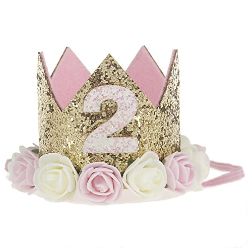 Baby Princess Tiara Crown, Baby Girls/Kids First Birthday Hat Sparkle Gold Flower Style with Artificial Rose Flower (2st Golden Crown)