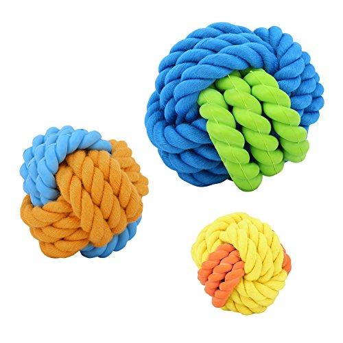 Pawaboo Haustier Kauspielzeug, [3 Stück] Roubsten Hundespielzeug Ball Gummiball mit Seil Hundeball Zahnreinigung Spielzeug für Wepeln, große & kleine Hunde, Katze Multi Farbe