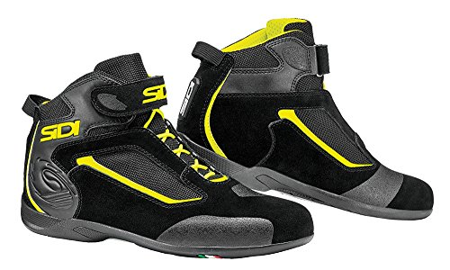 Sidi Gas Motorcycle Boot, Black/Yellow Fluo, Size 39