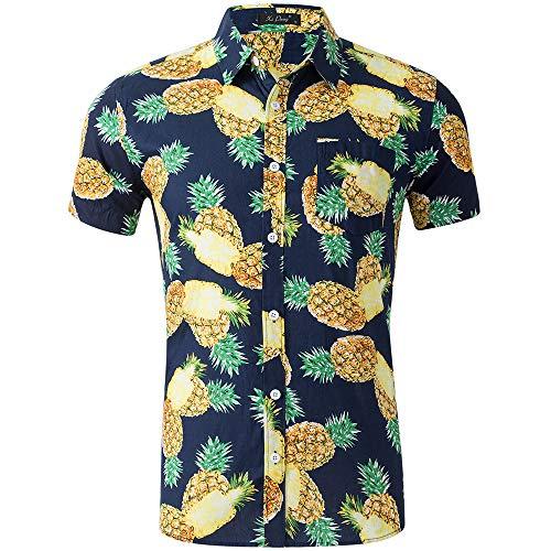 AIDEAONE Herren Freizeit Ananas Hemden Kurzarm Sommerhemd Lässige Hawaii Aloha Hemd
