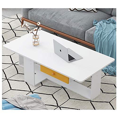 LICHUAN Mesa de centro simple moderna y creativa pequeña mesa de café nórdica, mesa de té para el hogar, sala de estar, mesa auxiliar multifuncional, color blanco