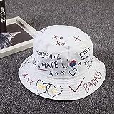UnisexBucket Hat Pesca al Aire LibreHip Hop Cap Hombres Verano para Fisherman Hat Mujeres Nuevo Feminino-White Hat-One Size