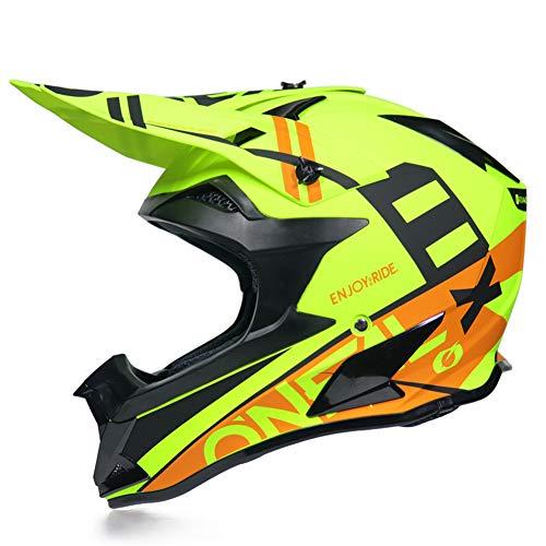 JWL - Casco de motocross con guantes/máscara/gafas, casco de bicicleta de montaña, casco de resistencia para ATV Downhill protección de seguridad (amarillo claro, L)