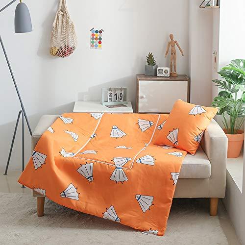 QMZ Cartoon Ananas Elch Kissen Quilt Dual-Use-Büro Nickerchen Decke Sofa Autokissen Klimaanlage Sommer Quilt 40cm open100x150