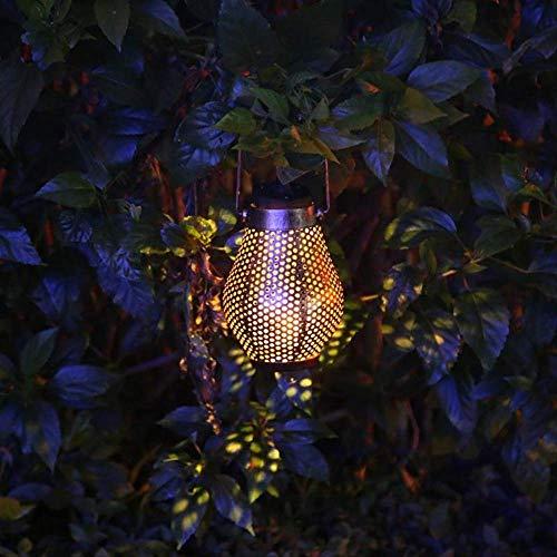 Retro Solar Power Led Laterne Rasenlandschaft Wasserdichte Blechdose Optisch Gesteuertes Induktionslicht Outdoor Garten Hängelampe Blau