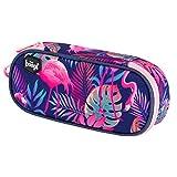 Mäppchen für Mädchen - Federmäppchen für Schreibwaren - Schulsachen Federtasche, Kinder Schlamppermäppchen, Federmappe für Schule (Flamingo)