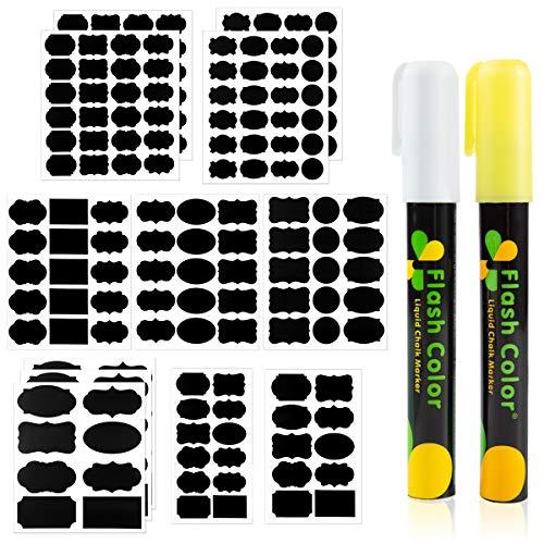Audamp Tafelaufkleber 187 mit Löschbar Kreidemarker 2 Farben Wiederverwendbar Wasserdicht Tafel Aufkleber Sticker Tafeletiketten Selbstklebend Perfekter Etiketten Partner
