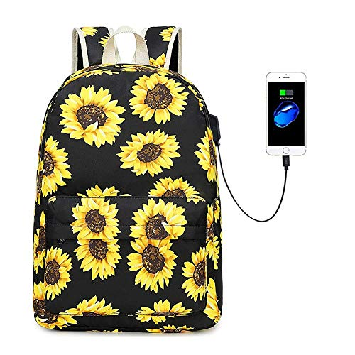 Sunflower Canvas Backpack for College Girls Women with USB Charging Port, 14