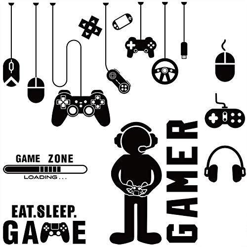 Pegatina de Jugador, Calcomanías de Pared de Eat Sleep Game, Calcomanías de Pared de Jugador con Controlador Papel Pintado de Videojuego, Zona de Juegos para Dormitorio Sala de Juego Hogar