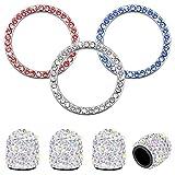 4 piezas Tapas de vástago de válvula de neumático para ruedas de coche Y3 partes de pegatinas de emblema de anillo Bling,Decoración del coche Botón de encendido Motor de arranque Llave y perillas