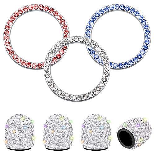 4 Stück Universal Reifenventilkappen für Autoräder & 3St Bling Ring Emblem Aufkleber, Autodekor Strass Interieur Aufkleber Zubehör für Auto Starten Sie den Zündschalter Schlüssel und Knöpfe