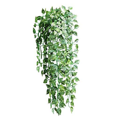 xiaokesong 葉 人工 ポトス 藤 観葉植物 壁掛 インテリア アンティーク フェイクグリーン 1本入り