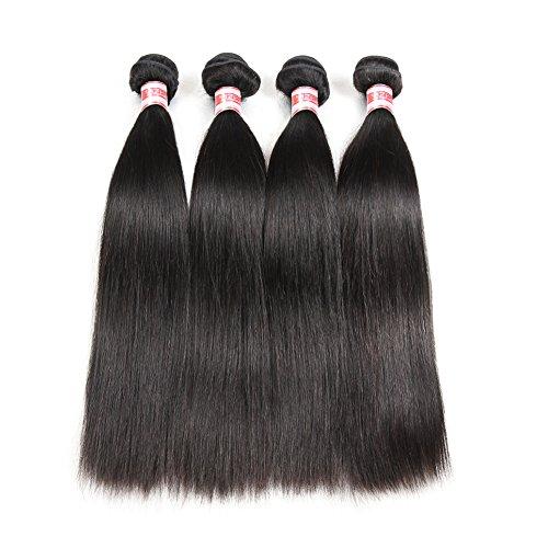 Hermosa Brazilian Straight Human Hair 4 Bundles 9A Unprocessed Virgin Brazilian Straight Human Hair Weave Weft Natural Black (18 20 22 24)