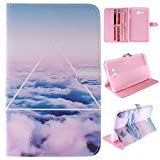 Skytar Galaxy Tab 3 7.0 Lite Coque - Bookstyle Case Cover PU Cuir Etui à Rabat Coque pour Samsung Galaxy Tab 3 Lite 7.0 Pouces SM-T110 T116 T111 T113 Tablette Housse de Protection,Nuages Blancs