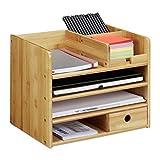 Relaxdays Schreibtisch Organizer, Briefablage A4, Notizzettel und Stifte ordnen, Schublade, Ordnungssystem Büro, Bambus, H x B x T: ca. 26 x 33 x 24 cm