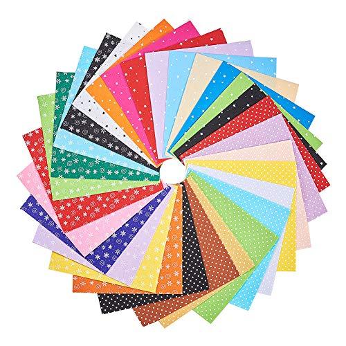 BENECREAT 30PCS 12 x 12 Pollici (30 cm x 30 cm) Fai da Te in Poliestere Modellato Morbido Tessuto Feltro piazze Fogli Assortiti Colori per Artigianato, 1 mm di Spessore